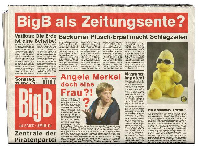 BigB als lustiger Zeitungs-Erpel Gold-Bild